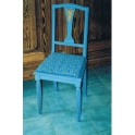 Chaise bleu-vert assise tissu